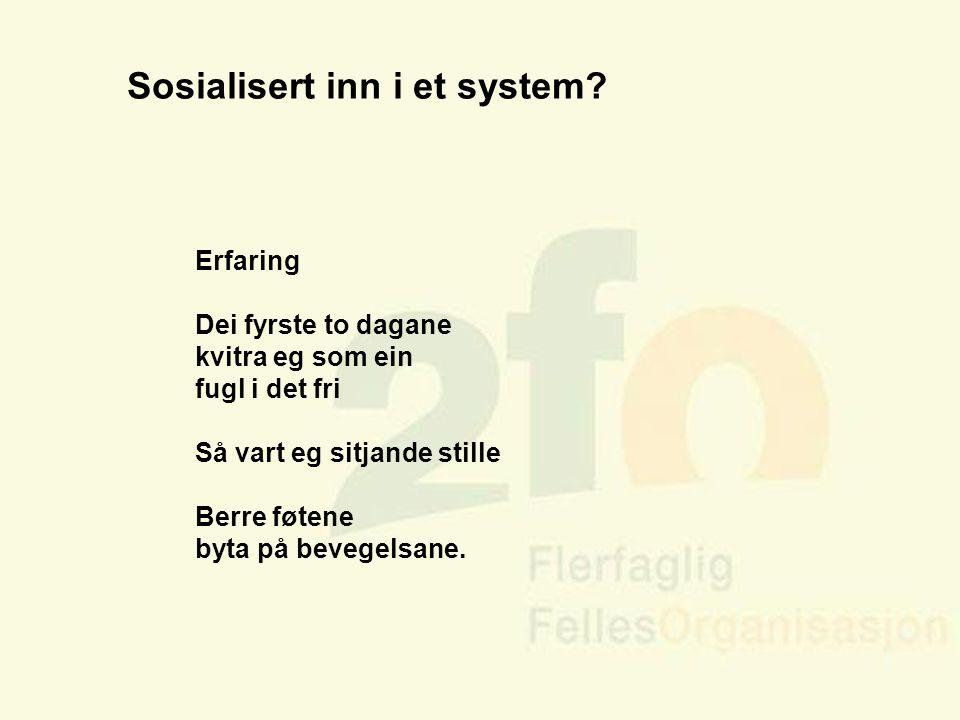Arve Sigmundstad – Opplæringskonsulent 2fo Sosialisert inn i et system? Erfaring Dei fyrste to dagane kvitra eg som ein fugl i det fri Så vart eg sitj