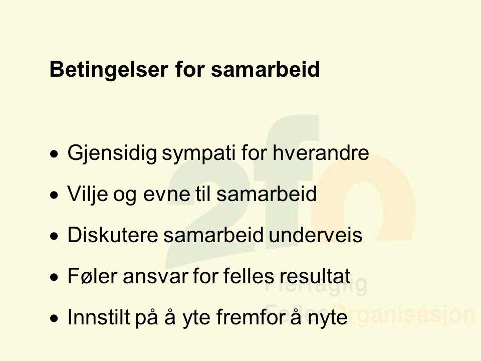 Arve Sigmundstad – Opplæringskonsulent 2fo Betingelser for samarbeid  Gjensidig sympati for hverandre  Vilje og evne til samarbeid  Diskutere samar