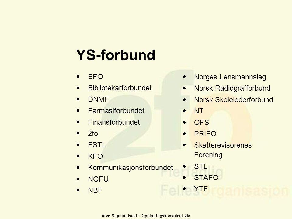 Arve Sigmundstad – Opplæringskonsulent 2fo YS-forbund  BFO  Bibliotekarforbundet  DNMF  Farmasiforbundet  Finansforbundet  2fo  FSTL  KFO  Ko