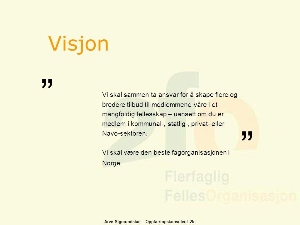 Arve Sigmundstad – Opplæringskonsulent 2fo Visjon Vi skal sammen ta ansvar for å skape flere og bredere tilbud til medlemmene våre i et mangfoldig fel