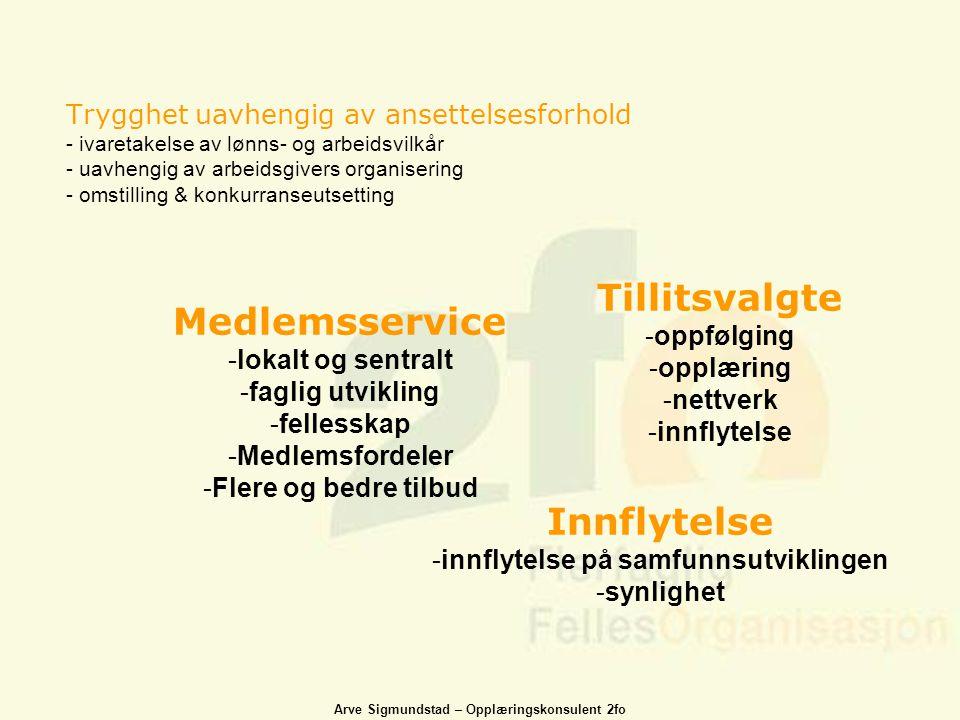 Arve Sigmundstad – Opplæringskonsulent 2fo Trygghet uavhengig av ansettelsesforhold - ivaretakelse av lønns- og arbeidsvilkår - uavhengig av arbeidsgi