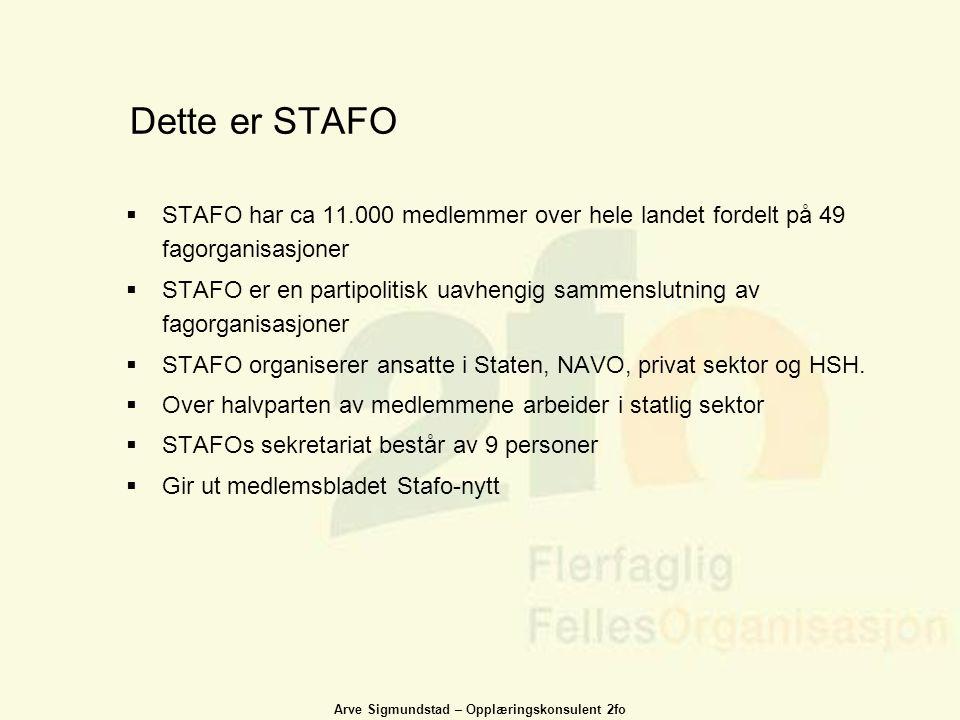 Arve Sigmundstad – Opplæringskonsulent 2fo Dette er STAFO  STAFO har ca 11.000 medlemmer over hele landet fordelt på 49 fagorganisasjoner  STAFO er