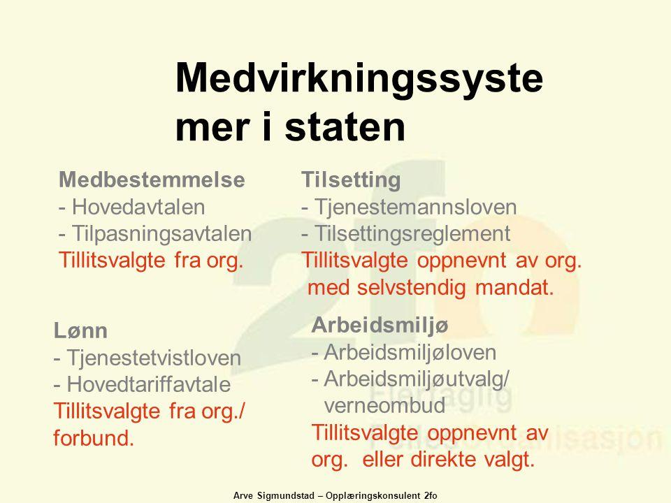 Arve Sigmundstad – Opplæringskonsulent 2fo Medvirkningssyste mer i staten Medbestemmelse - Hovedavtalen - Tilpasningsavtalen Tillitsvalgte fra org. Ti