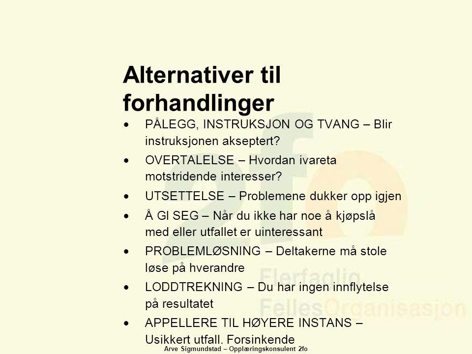 Arve Sigmundstad – Opplæringskonsulent 2fo Alternativer til forhandlinger  PÅLEGG, INSTRUKSJON OG TVANG – Blir instruksjonen akseptert?  OVERTALELSE