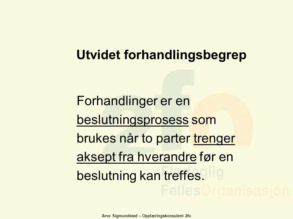Arve Sigmundstad – Opplæringskonsulent 2fo Utvidet forhandlingsbegrep Forhandlinger er en beslutningsprosess som brukes når to parter trenger aksept f