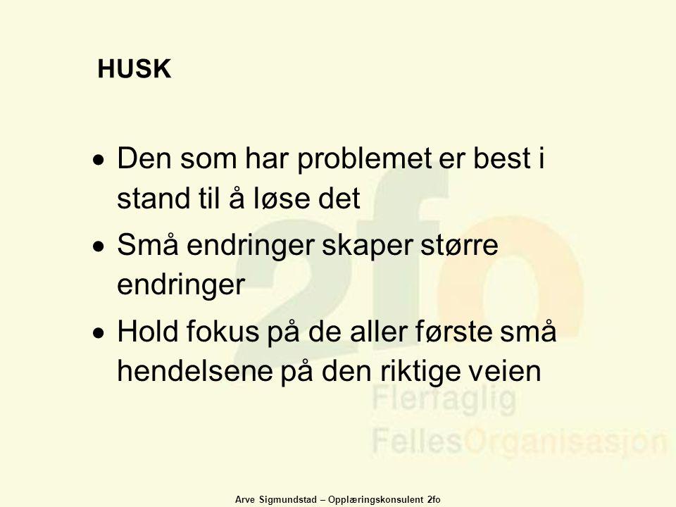 Arve Sigmundstad – Opplæringskonsulent 2fo HUSK  Den som har problemet er best i stand til å løse det  Små endringer skaper større endringer  Hold