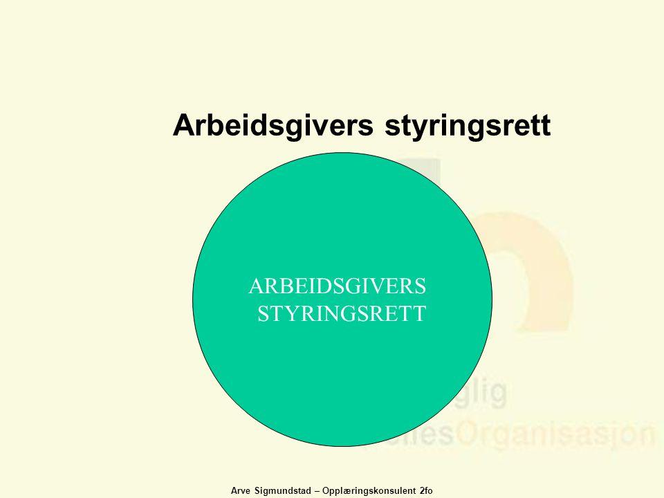 Arve Sigmundstad – Opplæringskonsulent 2fo ARBEIDSGIVERS STYRINGSRETT Arbeidsgivers styringsrett