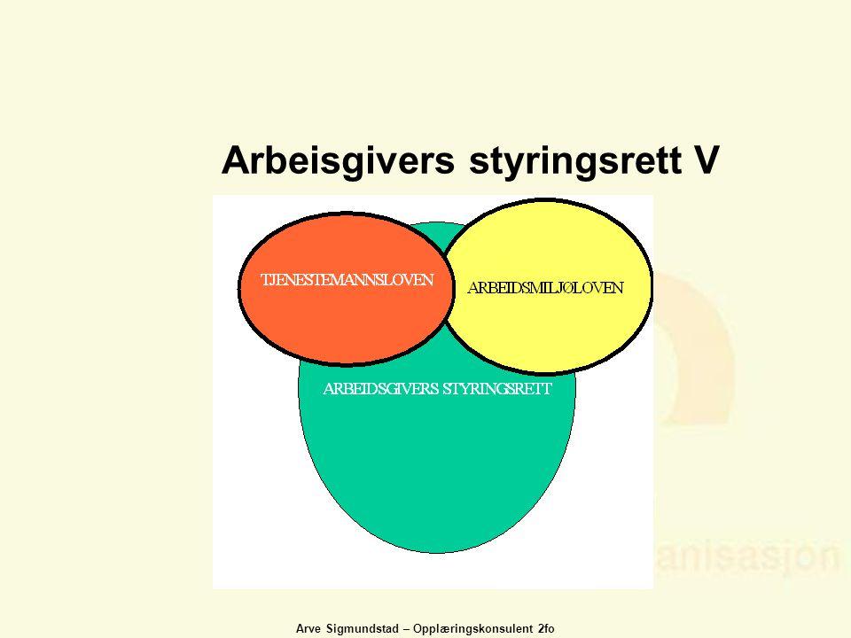 Arve Sigmundstad – Opplæringskonsulent 2fo Arbeisgivers styringsrett V
