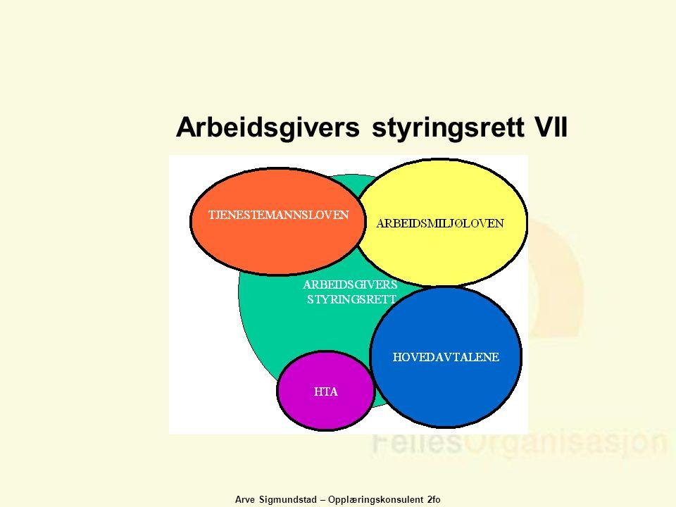 Arve Sigmundstad – Opplæringskonsulent 2fo Arbeidsgivers styringsrett VII