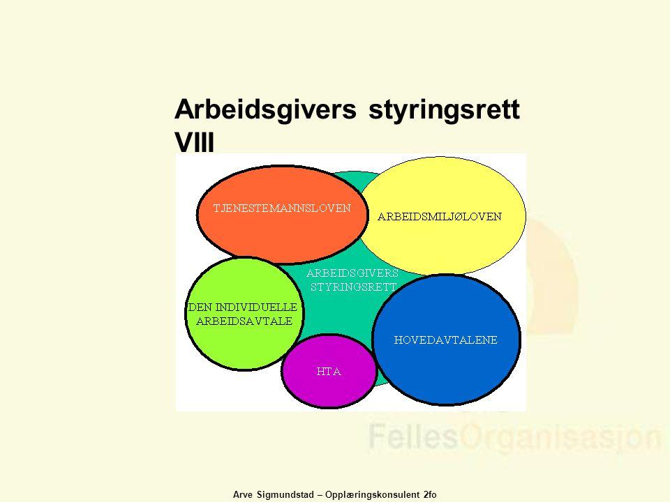 Arve Sigmundstad – Opplæringskonsulent 2fo Arbeidsgivers styringsrett VIII