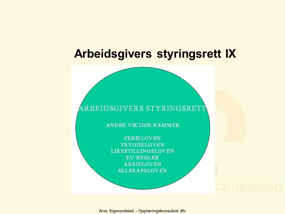 Arve Sigmundstad – Opplæringskonsulent 2fo Arbeidsgivers styringsrett IX