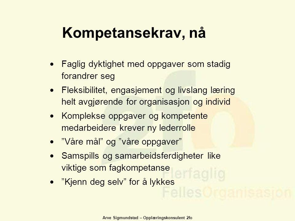 Arve Sigmundstad – Opplæringskonsulent 2fo Kompetansekrav, nå  Faglig dyktighet med oppgaver som stadig forandrer seg  Fleksibilitet, engasjement og