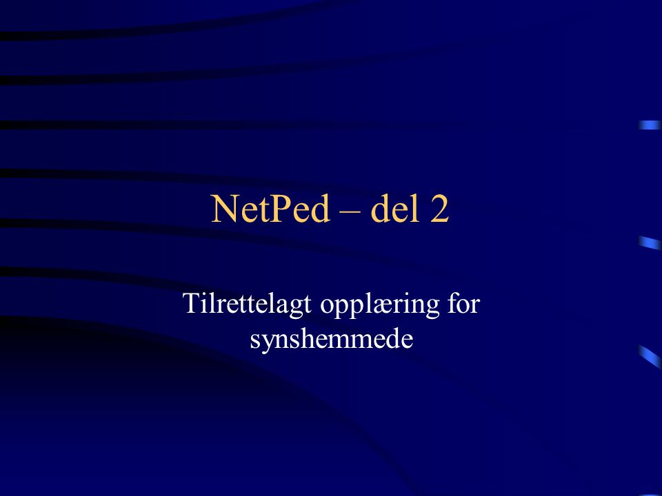 NetPed – del 2 Tilrettelagt opplæring for synshemmede