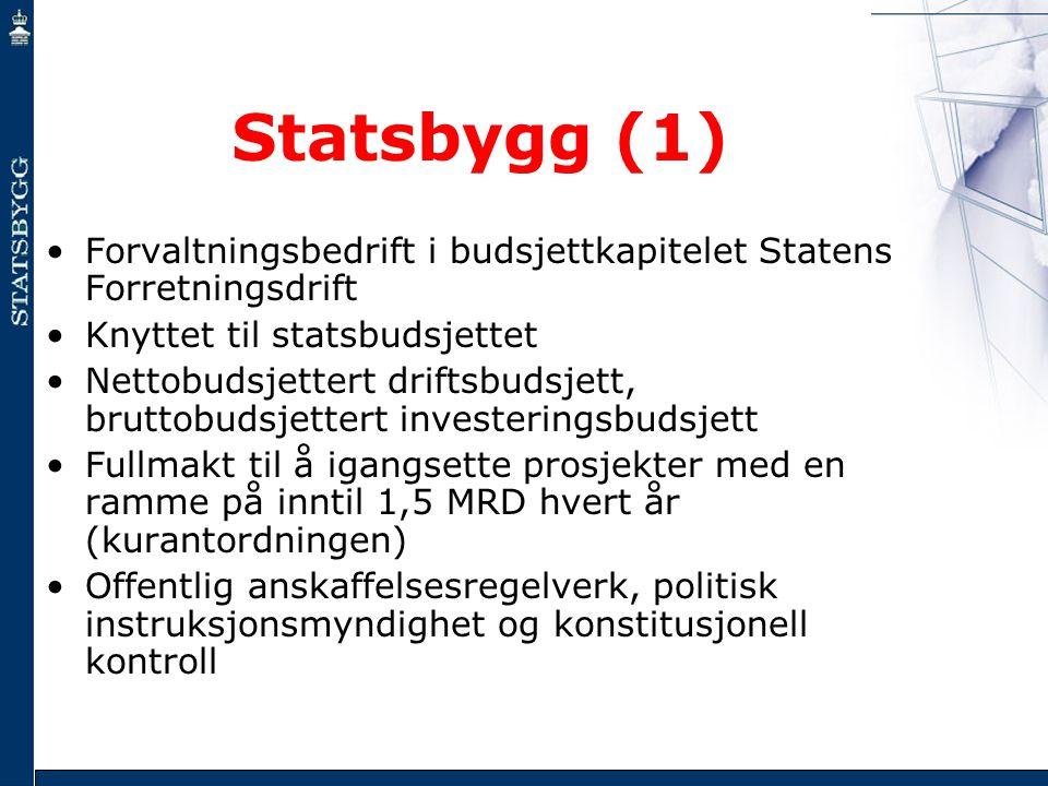 Statsbygg (1) •Forvaltningsbedrift i budsjettkapitelet Statens Forretningsdrift •Knyttet til statsbudsjettet •Nettobudsjettert driftsbudsjett, bruttob