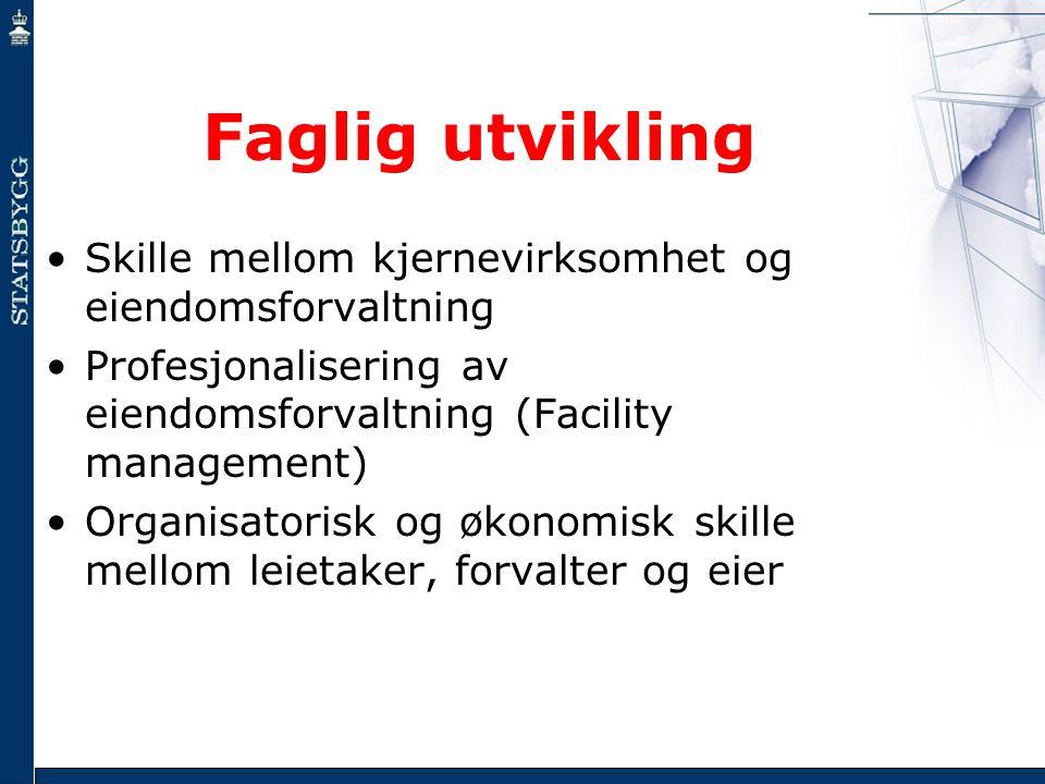 Faglig utvikling •Skille mellom kjernevirksomhet og eiendomsforvaltning •Profesjonalisering av eiendomsforvaltning (Facility management) •Organisatori