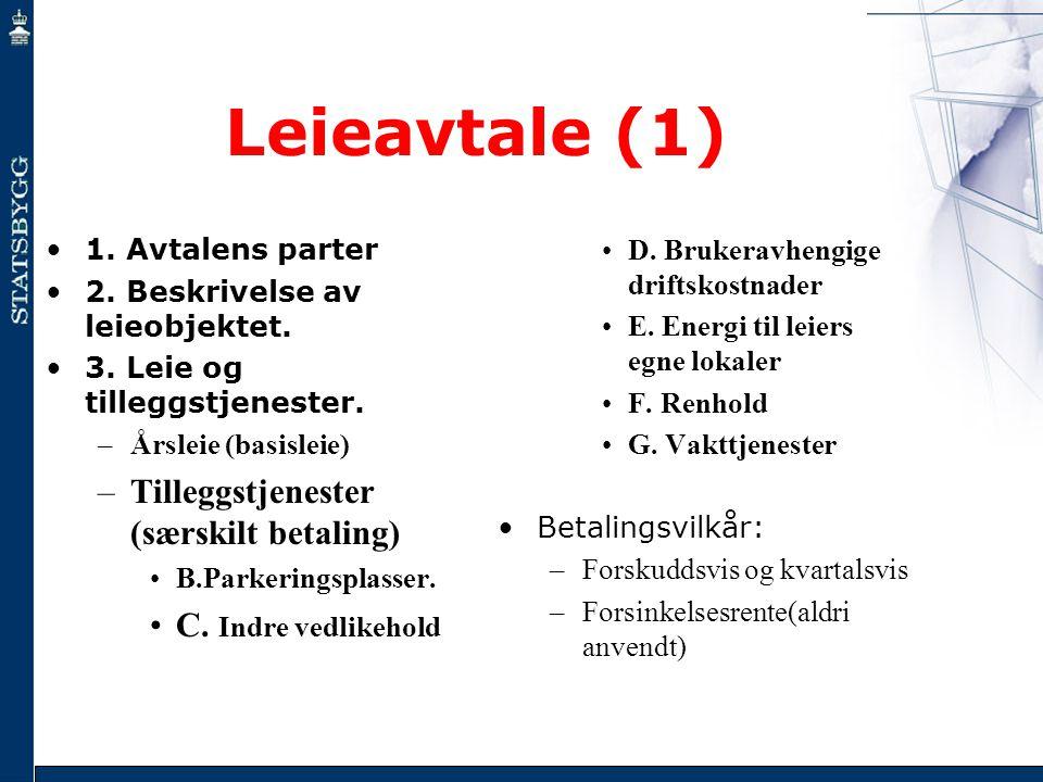 Leieavtale (1) •1. Avtalens parter •2. Beskrivelse av leieobjektet. •3. Leie og tilleggstjenester. –Årsleie (basisleie) –Tilleggstjenester (særskilt b