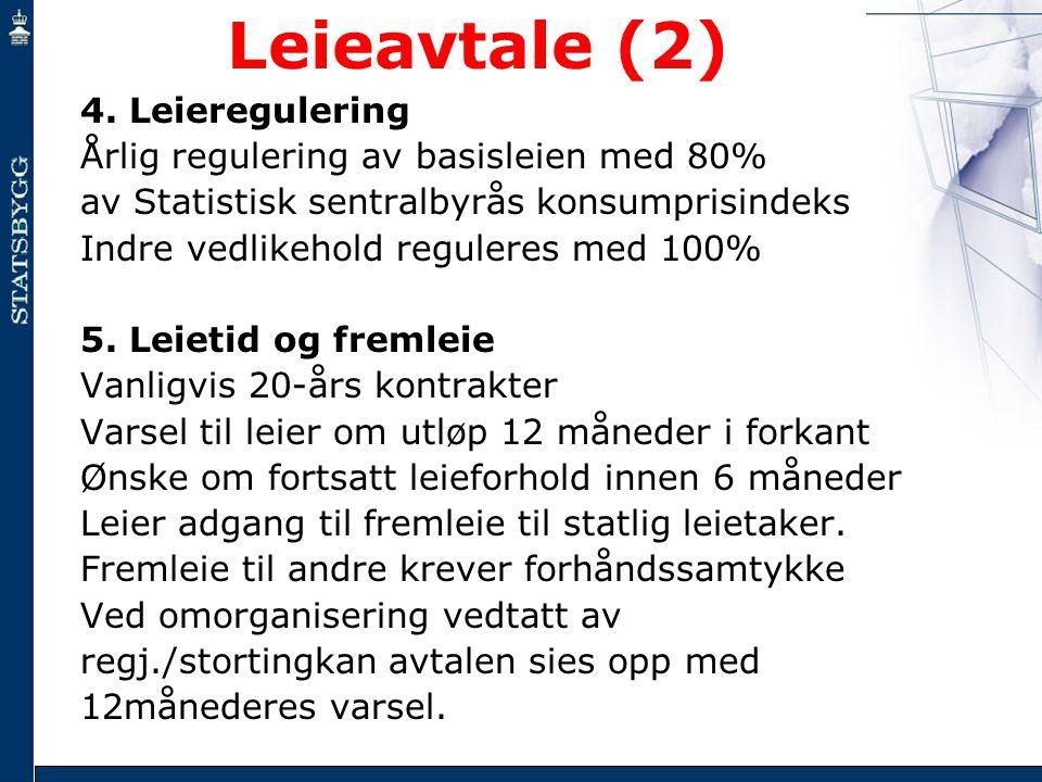 Leieavtale (2) 4. Leieregulering Årlig regulering av basisleien med 80% av Statistisk sentralbyrås konsumprisindeks Indre vedlikehold reguleres med 10