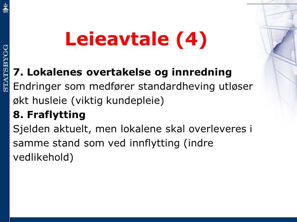 Leieavtale (4) 7. Lokalenes overtakelse og innredning Endringer som medfører standardheving utløser økt husleie (viktig kundepleie) 8. Fraflytting Sje