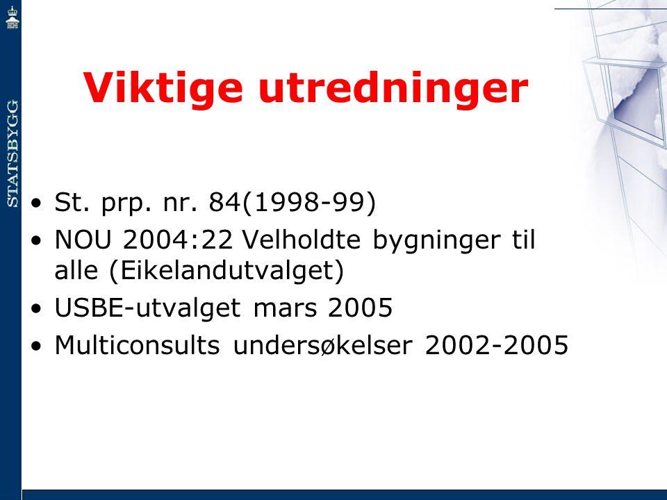 Viktige utredninger •St. prp. nr. 84(1998-99) •NOU 2004:22 Velholdte bygninger til alle (Eikelandutvalget) •USBE-utvalget mars 2005 •Multiconsults und