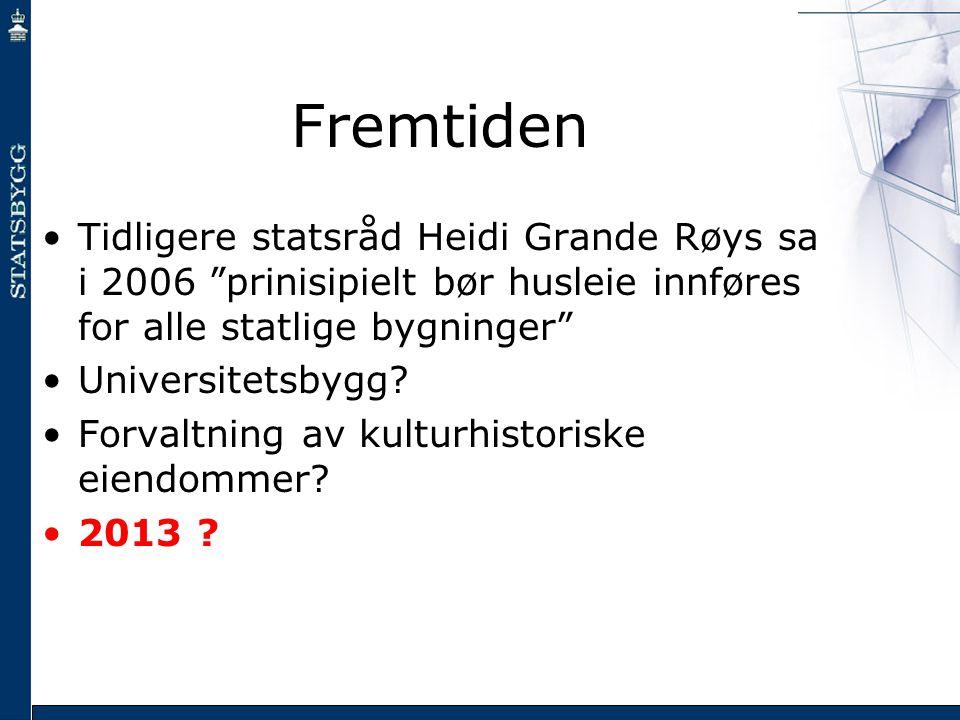 "Fremtiden •Tidligere statsråd Heidi Grande Røys sa i 2006 ""prinisipielt bør husleie innføres for alle statlige bygninger"" •Universitetsbygg? •Forvaltn"