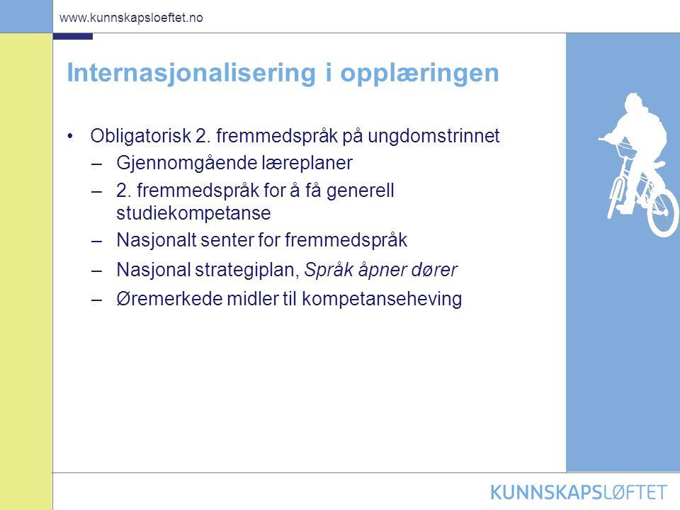 14 www.kunnskapsloeftet.no Internasjonalisering i opplæringen •Obligatorisk 2. fremmedspråk på ungdomstrinnet –Gjennomgående læreplaner –2. fremmedspr