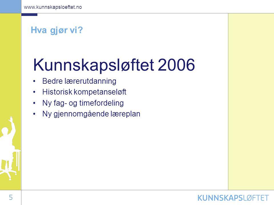 5 www.kunnskapsloeftet.no Hva gjør vi? Kunnskapsløftet 2006 •Bedre lærerutdanning •Historisk kompetanseløft •Ny fag- og timefordeling •Ny gjennomgåend