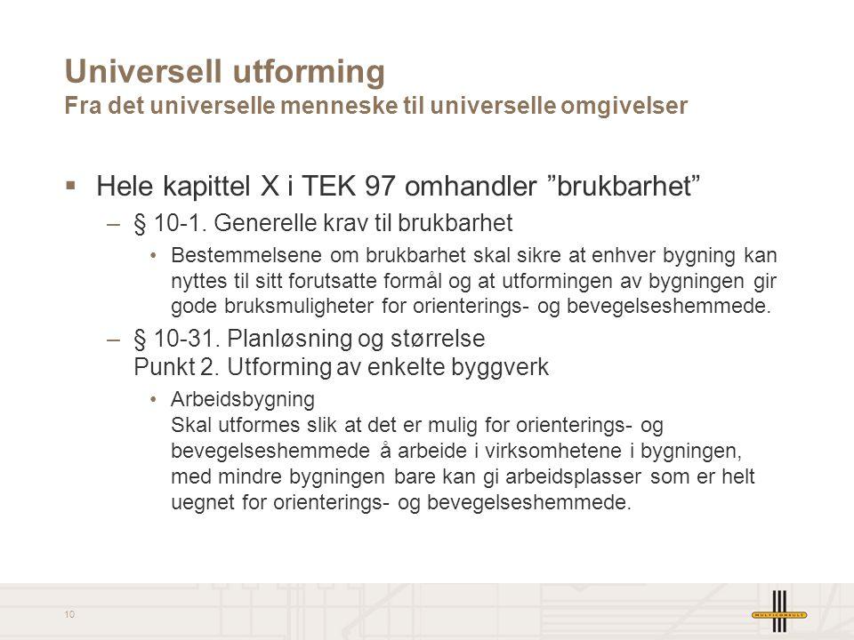 """10 Universell utforming Fra det universelle menneske til universelle omgivelser  Hele kapittel X i TEK 97 omhandler """"brukbarhet"""" –§ 10-1. Generelle k"""