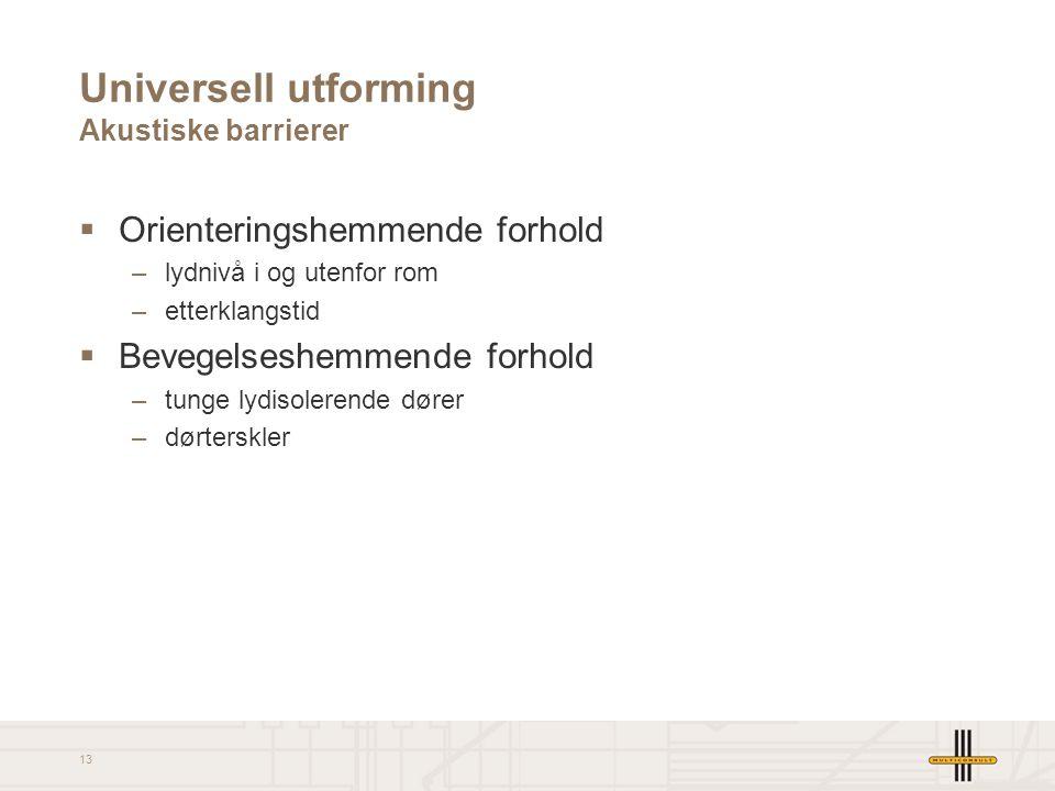 13 Universell utforming Akustiske barrierer  Orienteringshemmende forhold –lydnivå i og utenfor rom –etterklangstid  Bevegelseshemmende forhold –tun