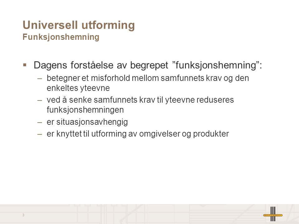4 Universell utforming Funksjonshemning  Gap-modell (hentet fra St.meld nr 40, 2002-2003 Nedbygging av funksjonshemmende barrierer )
