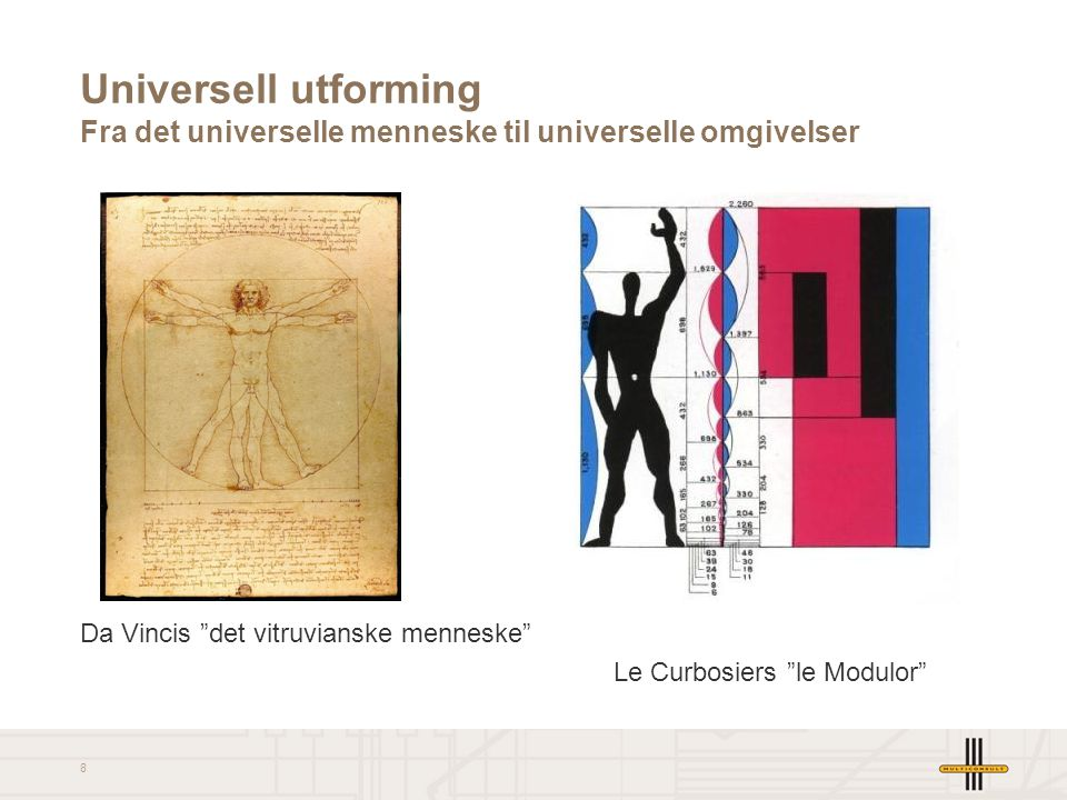 """8 Universell utforming Fra det universelle menneske til universelle omgivelser Da Vincis """"det vitruvianske menneske"""" Le Curbosiers """"le Modulor"""""""