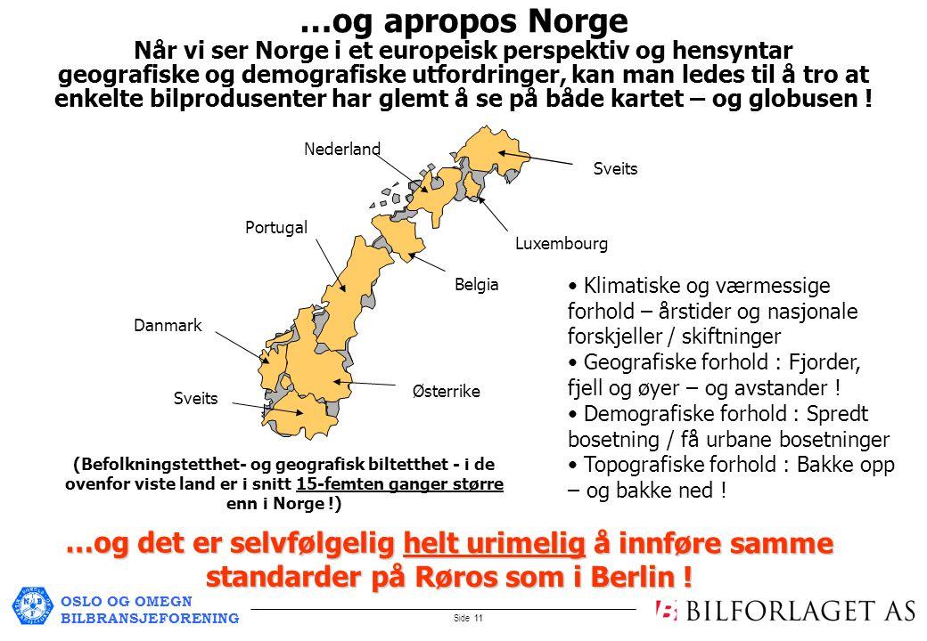 OSLO OG OMEGN BILBRANSJEFORENING Side 11 Danmark Portugal Østerrike Sveits Nederland Belgia Sveits Luxembourg …og apropos Norge Når vi ser Norge i et europeisk perspektiv og hensyntar geografiske og demografiske utfordringer, kan man ledes til å tro at enkelte bilprodusenter har glemt å se på både kartet – og globusen .