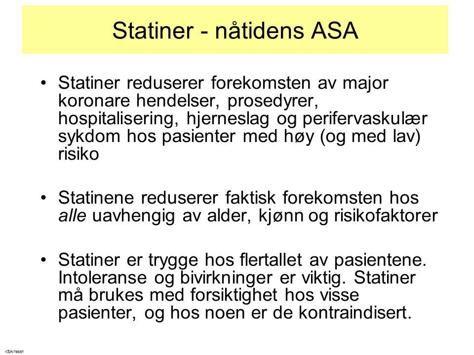 Statiner - nåtidens ASA •Statiner reduserer forekomsten av major koronare hendelser, prosedyrer, hospitalisering, hjerneslag og perifervaskulær sykdom