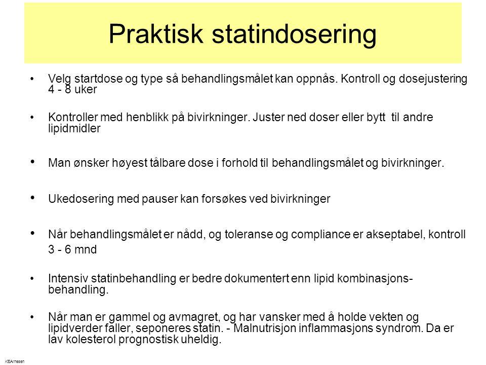 Praktisk statindosering •Velg startdose og type så behandlingsmålet kan oppnås. Kontroll og dosejustering 4 - 8 uker •Kontroller med henblikk på bivir