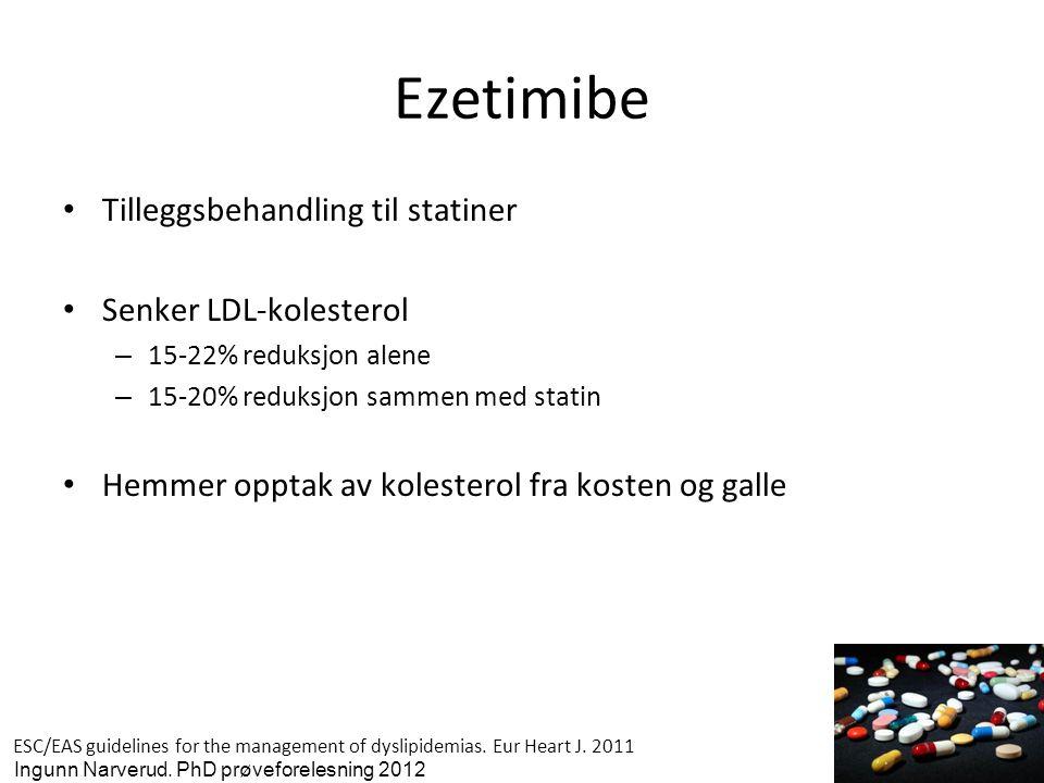 Ezetimibe • Tilleggsbehandling til statiner • Senker LDL-kolesterol – 15-22% reduksjon alene – 15-20% reduksjon sammen med statin • Hemmer opptak av k