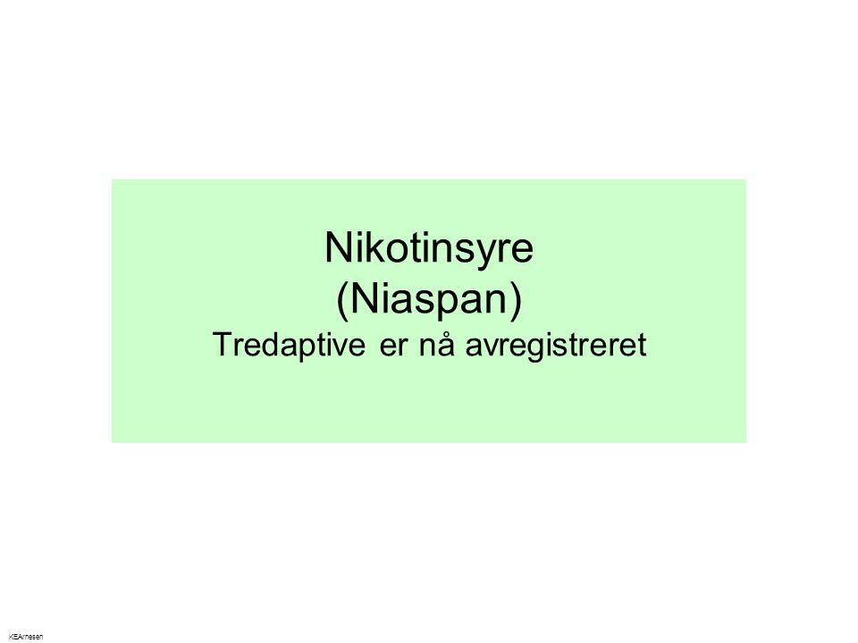 Nikotinsyre (Niaspan) Tredaptive er nå avregistreret KEArnesen