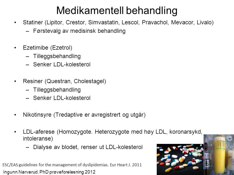 Fremtidig medikamentell behandling ved FH •PCSK9 –Øker nedbrytning av LDL reseptor –Antistoff mot PCSK9 senker LDL-kolesterol med ≈2,2 mmol/l fra start av studie og placebo hos FH pasienter •MTP (microsomal triglyserid transfer protein) –Viktig i dannelse av lipoproteiner –MTP hemmere senker LDL-kolesterol med 19-30% avhengig av dose •Mipomersen –Hemmer dannelse av bindingsproteinet (apoB) på LDL –Mipomersen senker LDL-kolesterolet med 21-34 % fra start av studie avhengig av dose hos FH pasienter Raal et al.