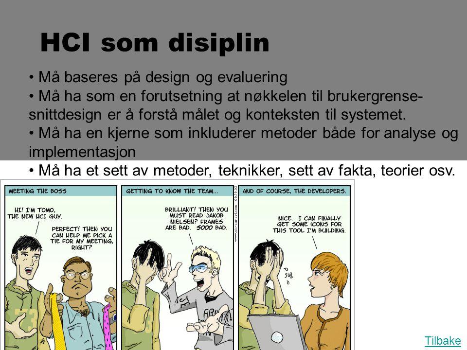 HCI som disiplin • Må baseres på design og evaluering • Må ha som en forutsetning at nøkkelen til brukergrense- snittdesign er å forstå målet og konte