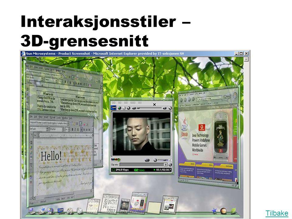 Interaksjonsstiler – 3D-grensesnitt Tilbake