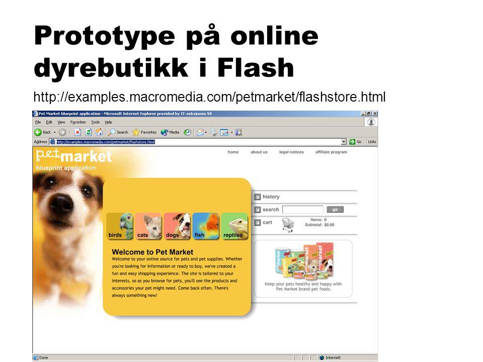 Prototype på online dyrebutikk i Flash http://examples.macromedia.com/petmarket/flashstore.html