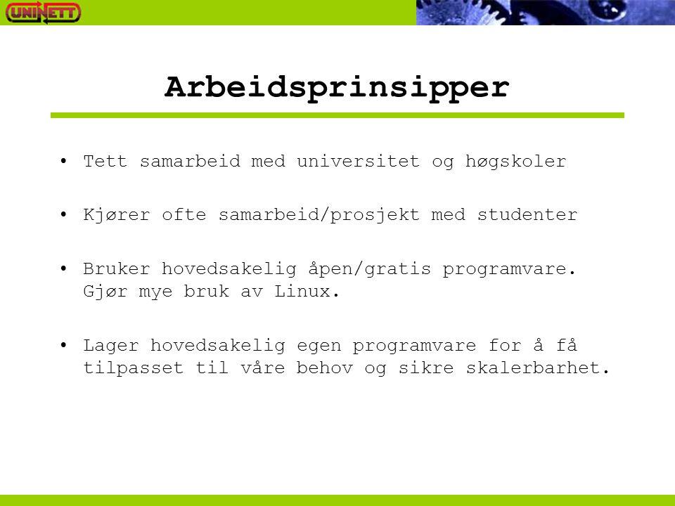 Arbeidsprinsipper •Tett samarbeid med universitet og høgskoler •Kjører ofte samarbeid/prosjekt med studenter •Bruker hovedsakelig åpen/gratis programvare.