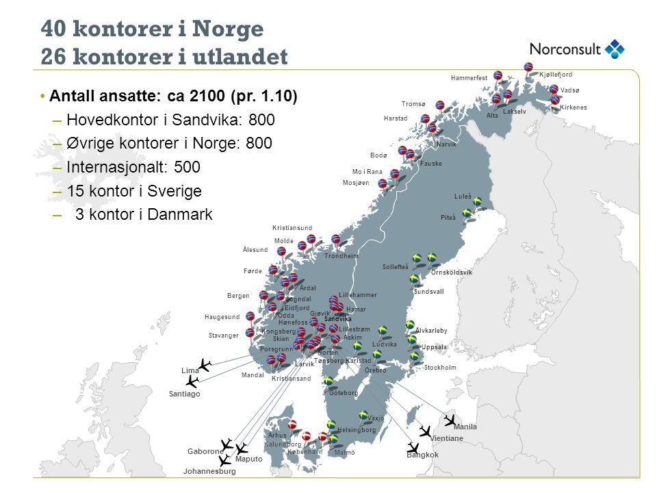 40 kontorer i Norge 26 kontorer i utlandet Tromsø Harstad Narvik Bodø Mo i Rana Hammerfest Molde Lillehammer Hamar Askim Førde Lillestrøm Kjøllefjord