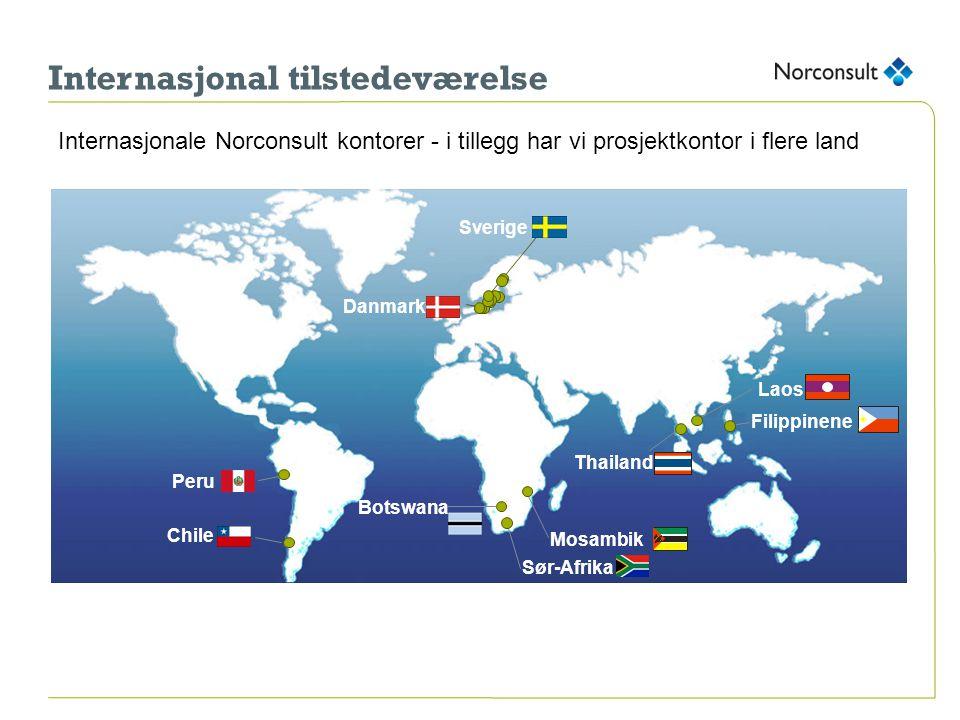 Internasjonal tilstedeværelse Laos Mosambik Filippinene Thailand Chile Sverige Danmark Botswana Internasjonale Norconsult kontorer - i tillegg har vi