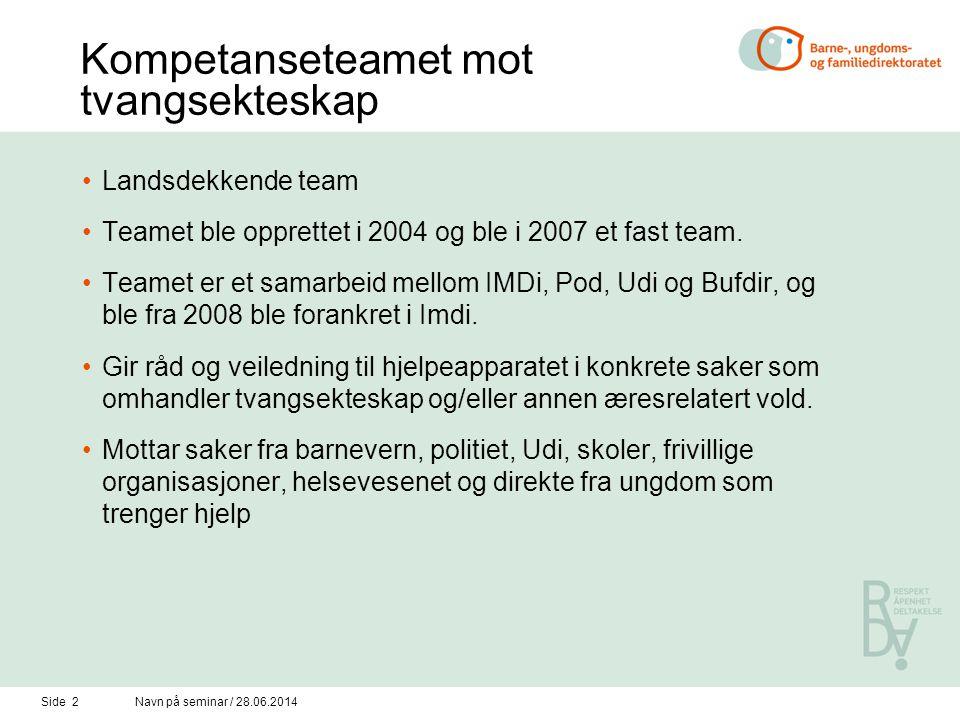 Side 2Navn på seminar / 28.06.2014 Kompetanseteamet mot tvangsekteskap •Landsdekkende team •Teamet ble opprettet i 2004 og ble i 2007 et fast team.