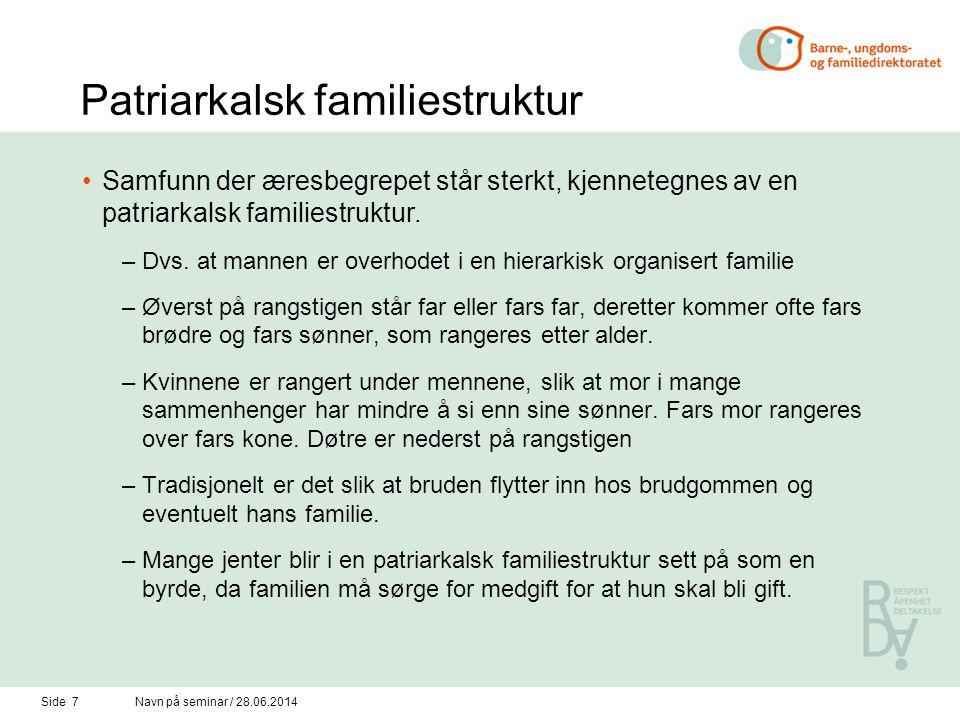 Patriarkalsk familiestruktur •Samfunn der æresbegrepet står sterkt, kjennetegnes av en patriarkalsk familiestruktur.