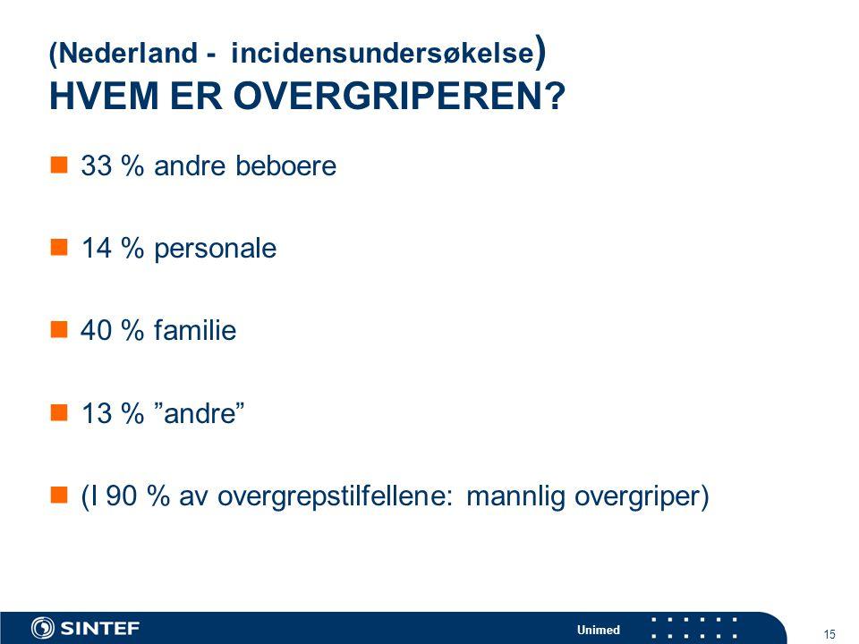 """Unimed 15 (Nederland - incidensundersøkelse ) HVEM ER OVERGRIPEREN?  33 % andre beboere  14 % personale  40 % familie  13 % """"andre""""  (I 90 % av o"""