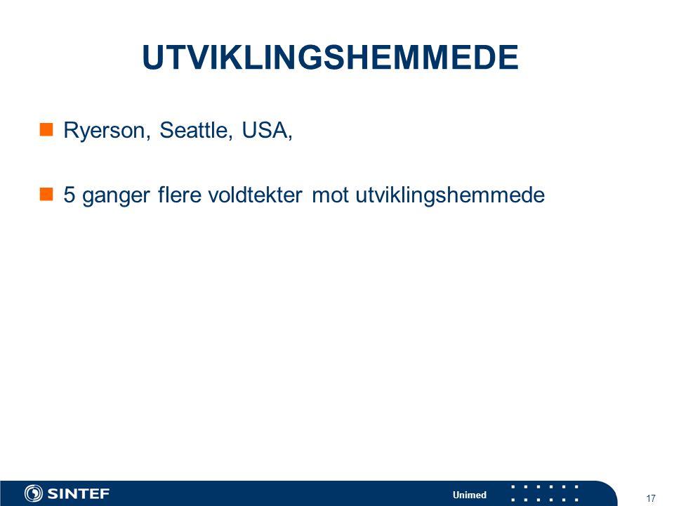 Unimed 17 UTVIKLINGSHEMMEDE  Ryerson, Seattle, USA,  5 ganger flere voldtekter mot utviklingshemmede