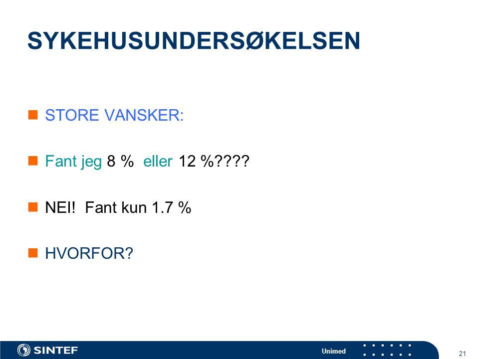 Unimed 21 SYKEHUSUNDERSØKELSEN  STORE VANSKER:  Fant jeg 8 % eller 12 %????  NEI! Fant kun 1.7 %  HVORFOR?