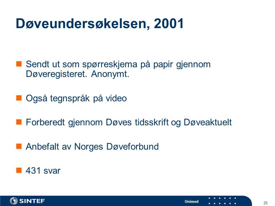 Unimed 26 Døveundersøkelsen, 2001  Sendt ut som spørreskjema på papir gjennom Døveregisteret. Anonymt.  Også tegnspråk på video  Forberedt gjennom