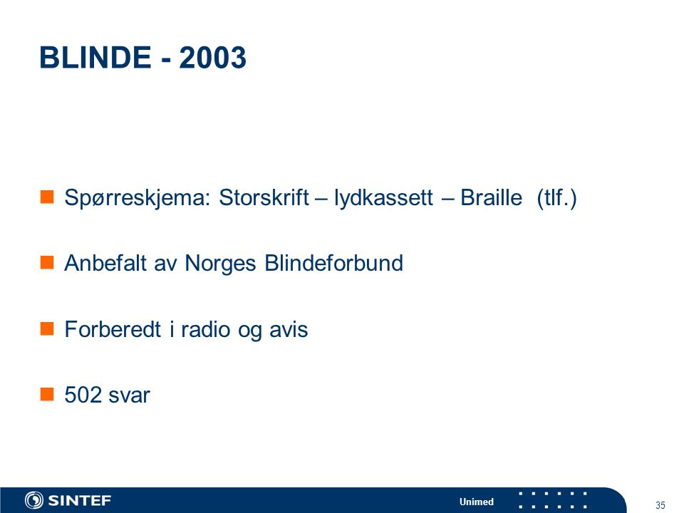 Unimed 35 BLINDE - 2003  Spørreskjema: Storskrift – lydkassett – Braille (tlf.)  Anbefalt av Norges Blindeforbund  Forberedt i radio og avis  502