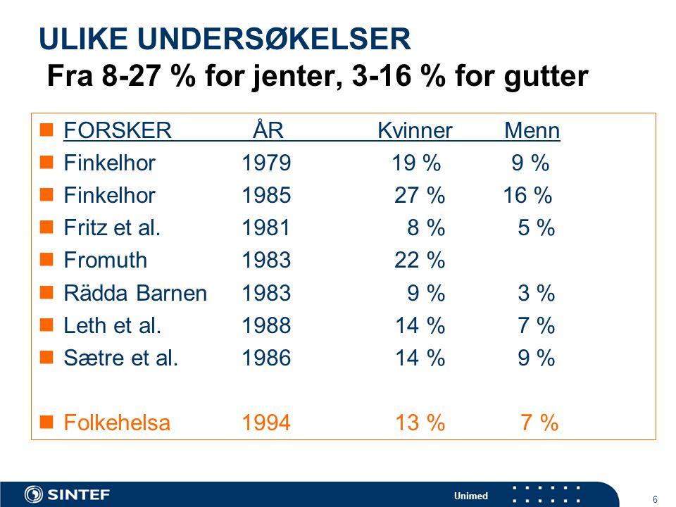 Unimed 7 FOREKOMST I DEN VANLIGE BEFOLKNINGEN – Nord-Amerika  Gorey & Leslie (1997) :  Plukket ut de beste 16 undersøkelsene (med kontakt)  12-17 % for kvinner  5-8 % for menn